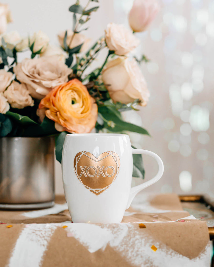 XOXO Heart Coffee Mug, Engraved White Porcelain