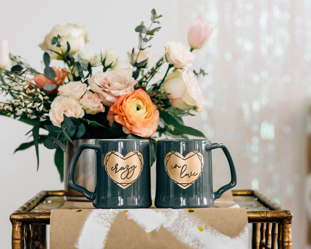 Crazy in Love Coffee Mug Set, Engraved Porcelain - Slate