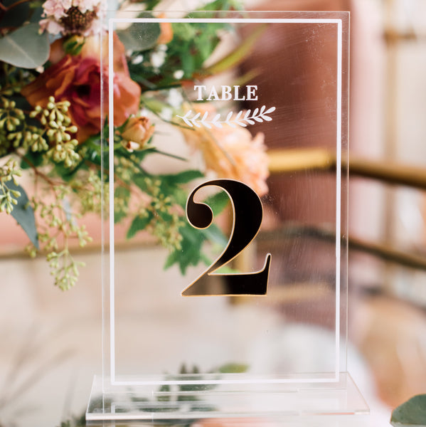 Minimalist Acrylic Table Number, Vertical