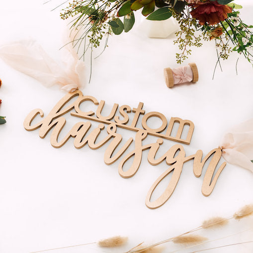 Custom Chair Sign - 2 Line, Wood