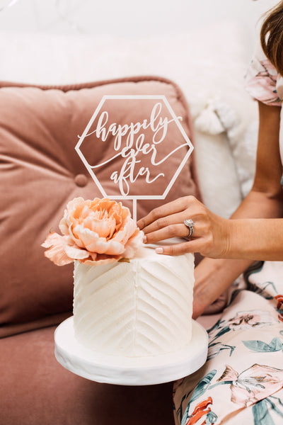 Geometric Happily Ever After Cake Topper, Acrylic (6