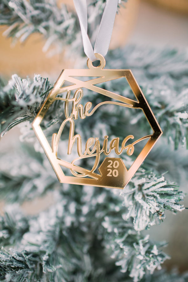 Glamour Hexagon Custom Christmas Ornament '20, Acrylic or Wood