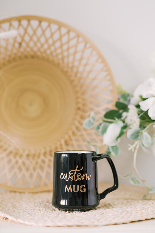 Custom Coffee Mug, Engraved Dansk Porcelain - Black