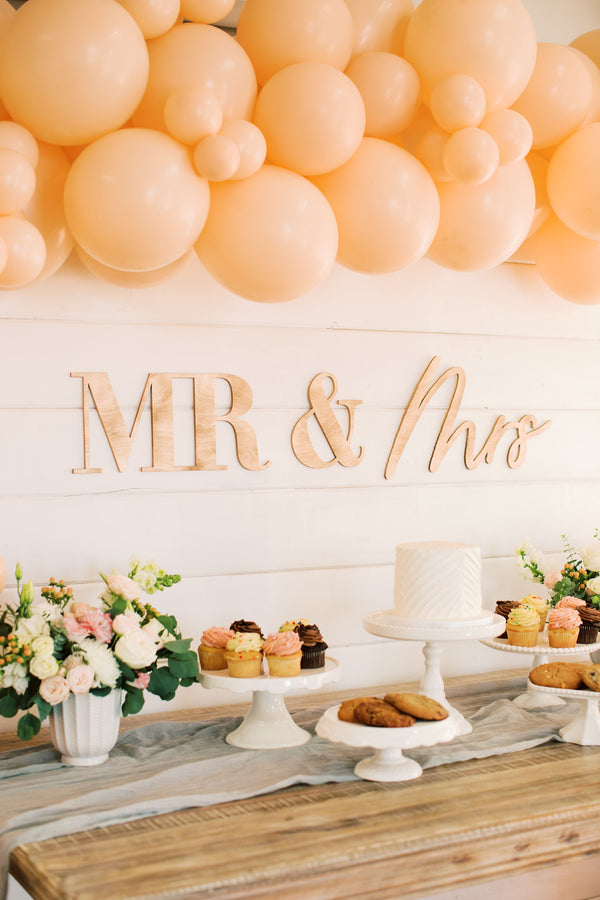 "42"" Mr & Mrs Wedding Backdrop Sign, Wood or Acrylic"