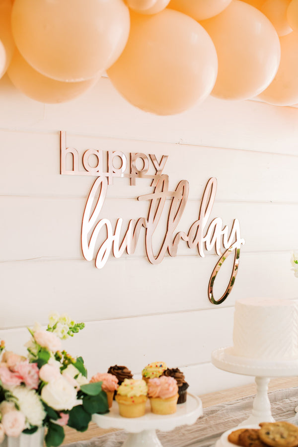 "26"" Happy Birthday Backdrop Sign, Wood or Acrylic"