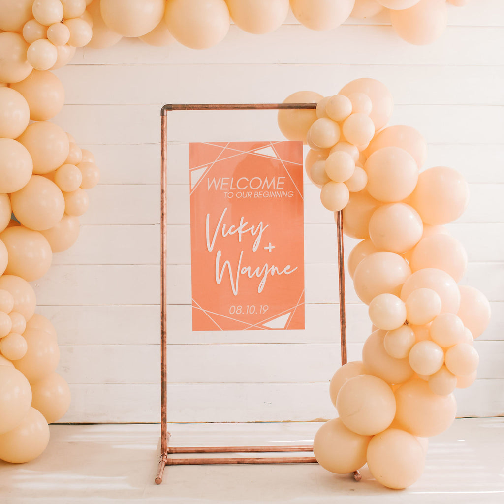 Geometric Wedding Welcome Sign, Wood or Acrylic - Malibu Collection