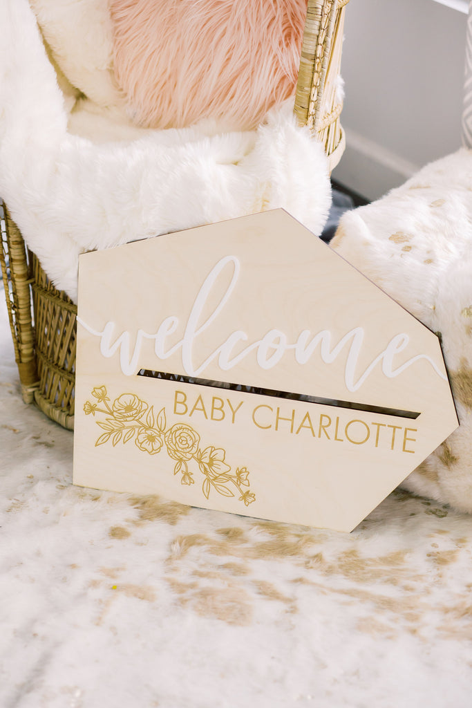 Custom wood baby shower sign by Happily Ever Etched