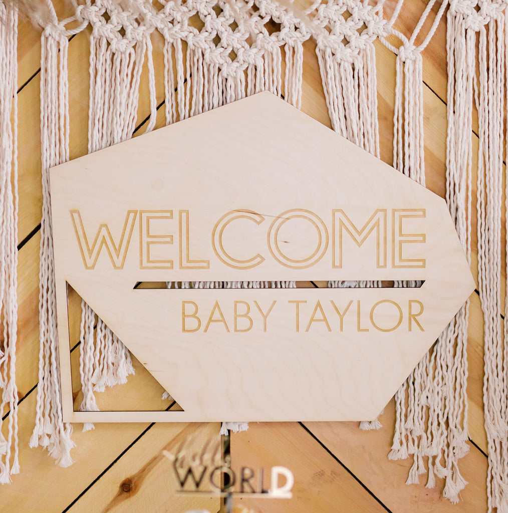 "21"" Custom Engraved Geometric Welcome Baby Name Sign, Wood"