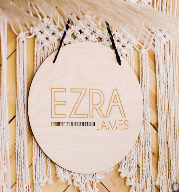"17"" Custom Engraved Round Nursery Name Sign, Wood"