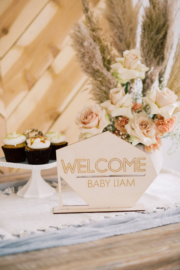 welcome baby name sign for baby shower decor