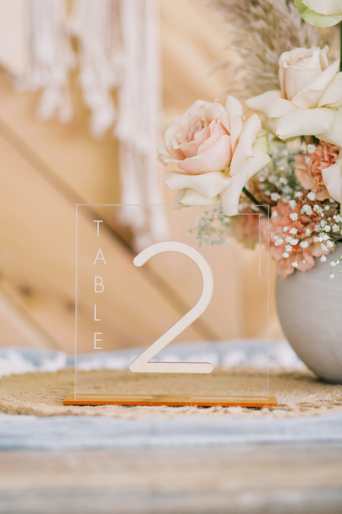 Square Table Number, Acrylic or Wood