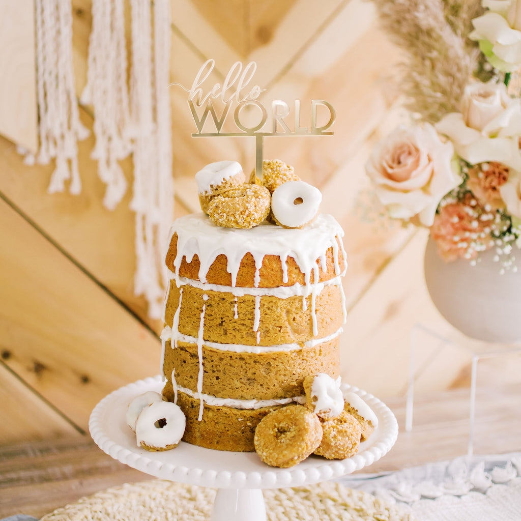 "5.5"" Hello World Cake Topper - Forever, Acrylic or Wood"