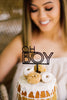 "4.5"" Oh Boy Baby Shower Cake Topper, Acrylic or Wood"