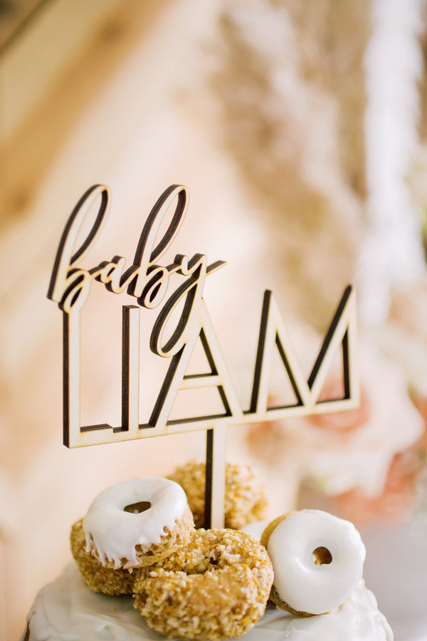 "6"" Custom Baby Name Cake Topper - 2 Line, Wood"