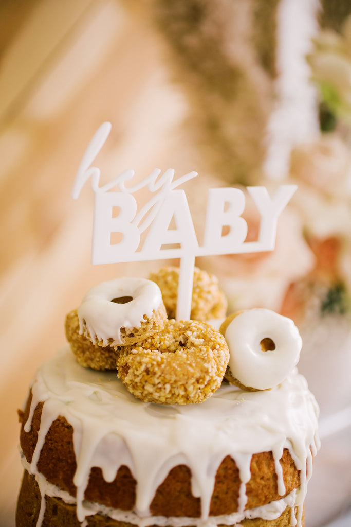 "5"" Hey Baby - Baby Shower Cake Topper, Acrylic"