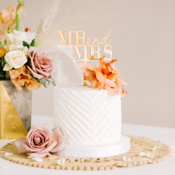 "5.5"" Mr & Mrs Wedding Cake Topper - Dreamer, Acrylic or Wood"