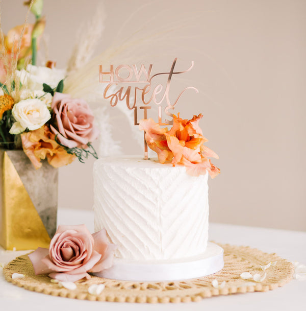 "5.5"" How Sweet It Is Wedding Cake Topper - Darling, Acrylic or Wood"