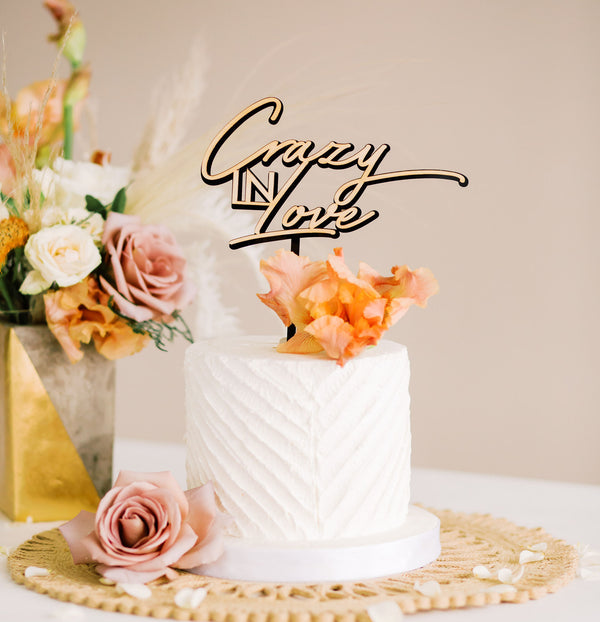 "7.5"" Crazy In Love Wedding Cake Topper, Double Layer, Acrylic or Wood"