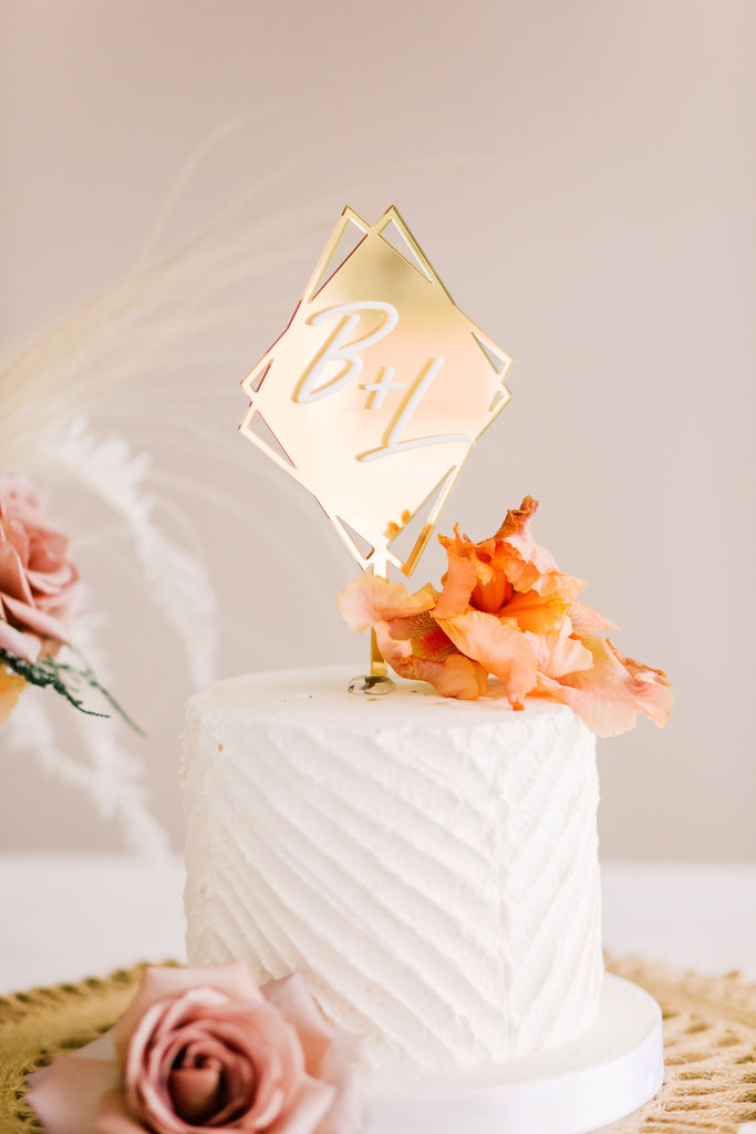 "4.5"" Diamond Initial Wedding Cake Topper, Double Layer Acrylic - Malibu Collection"