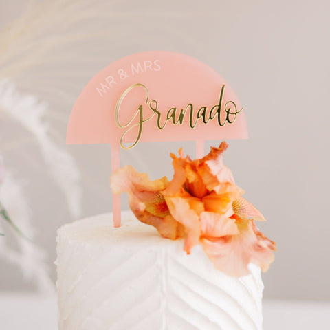 "5.5"" Half Circle Wedding Cake Topper, Double Layer Acrylic - Darling Collection"