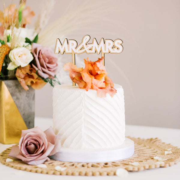 "6"" Mr & Mrs Wedding Cake Topper, Double Layer Acrylic & Wood - Malibu Collection"