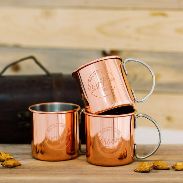 Set of 7 - Custom Engraved Copper Moscow Mule Mug, Groomsmen Gift - Burro Classic