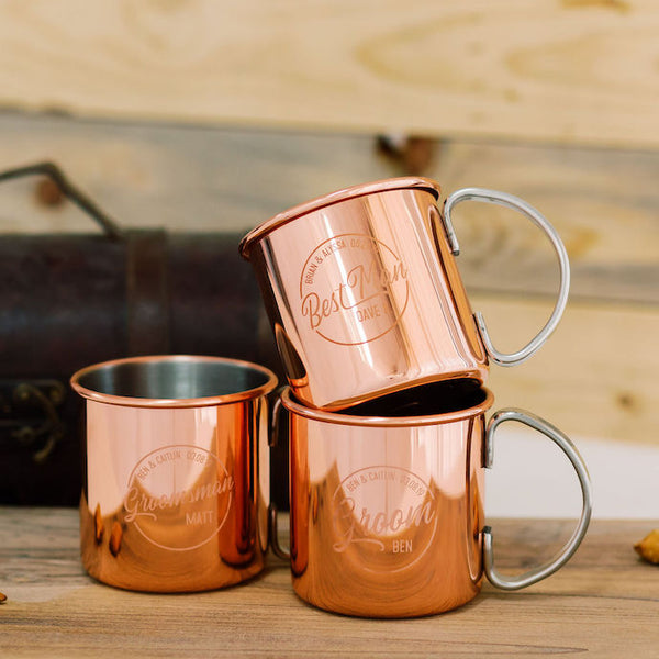 Set of 6 - Custom Engraved Copper Moscow Mule Mug, Groomsmen Gift - Burro Classic