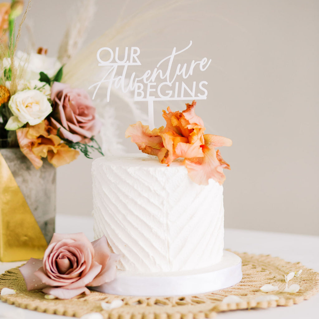 "6"" Our Adventure Begins Wedding Cake Topper - Dreamer, Acrylic or Wood"