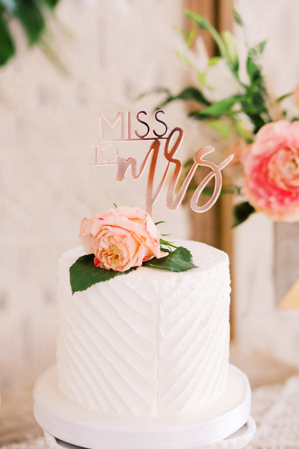 "5"" Miss to Mrs Bridal Shower Cake Topper - Trendy, Acrylic or Wood"
