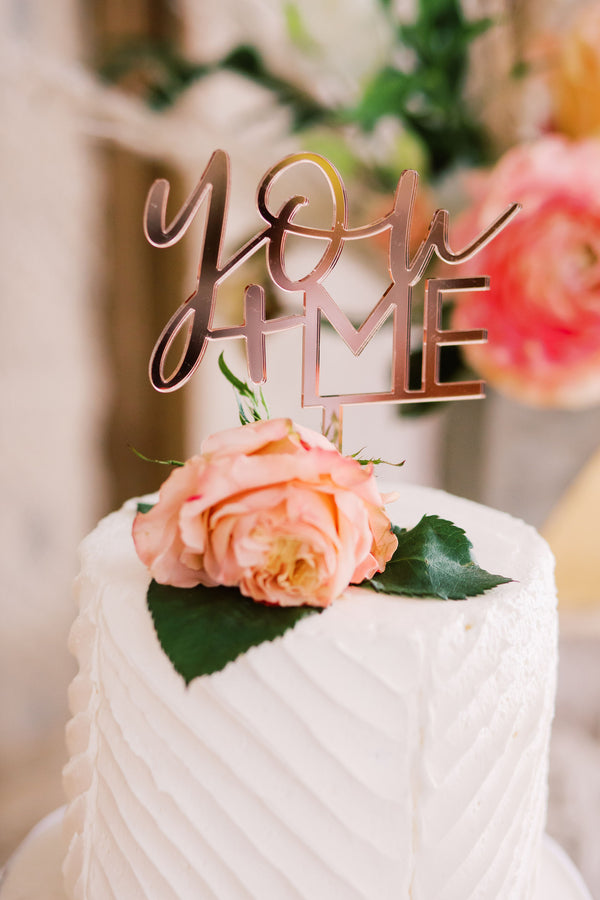 "5"" You + Me Wedding Cake Topper, Acrylic Or Wood"