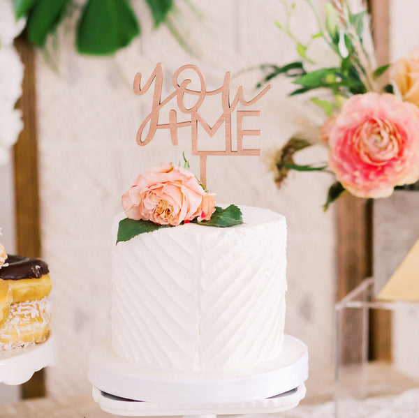 "5"" You + Me Wedding Cake Topper, Wood"