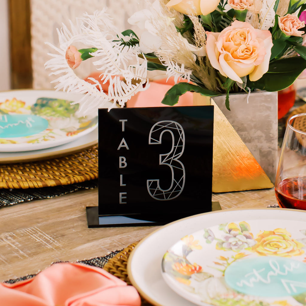 Set of 10 - Square Engraved Table Number, Acrylic or Wood