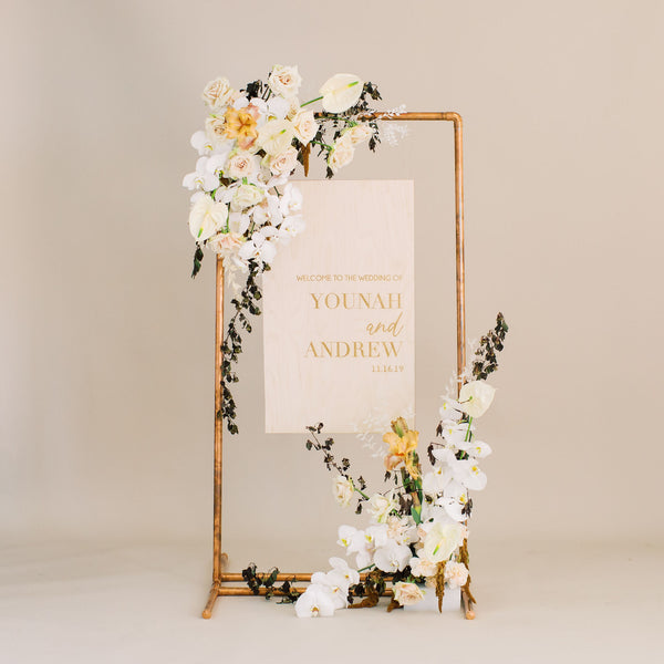 Custom Engraved Wedding Welcome Sign Vertical, Wood or Acrylic - Dreamer Collection