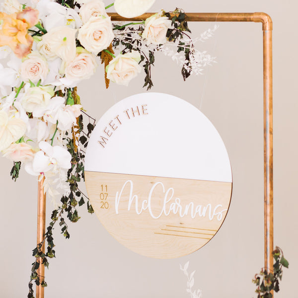 "17"" Meet the Newlyweds Split Circle Sign, Wood or Acrylic - Darling Collection"