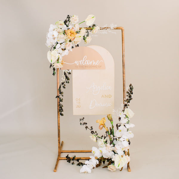 Custom Half Circle Welcome Wedding Sign, Wood or Acrylic - Darling Collection