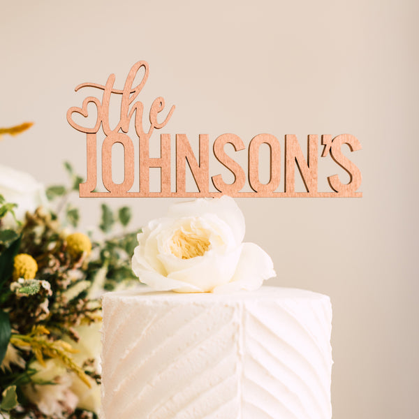 "8"" Custom Bold Wedding Cake Topper, Wood"