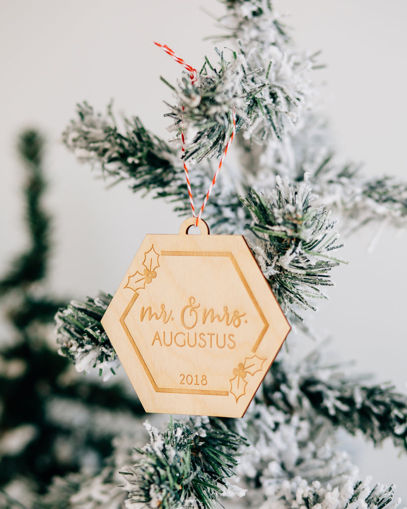 Holly Hexagon Custom Mr & Mrs Christmas Ornament, Acrylic or Wood