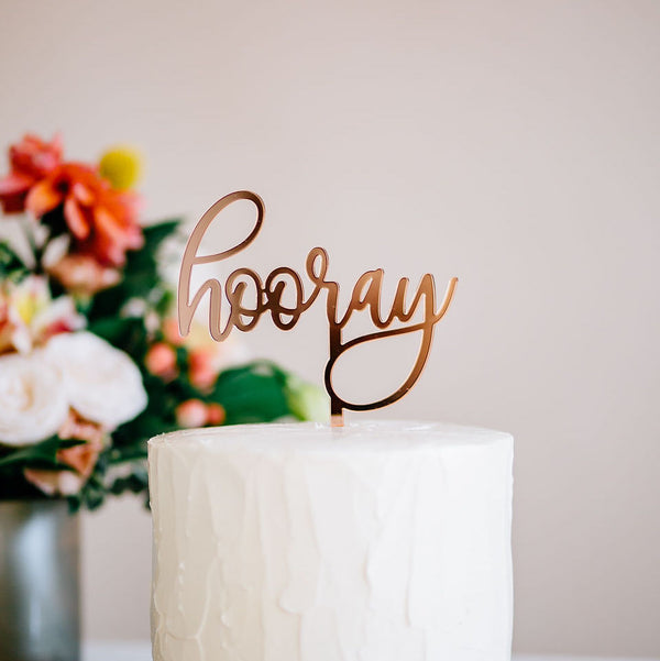 "5"" Hooray Cake Topper - Darling, Acrylic or Wood"