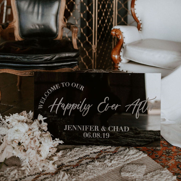 Custom Engraved Wedding Welcome Sign Horizontal, Wood or Acrylic - Dreamer Collection