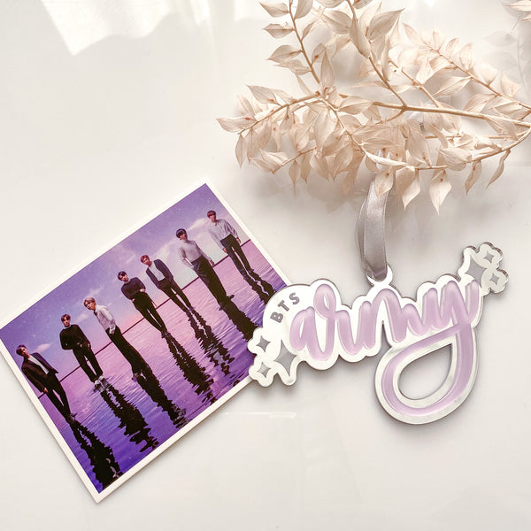 BTS Army Christmas Ornament, Mirror Silver with Purple Acrylic