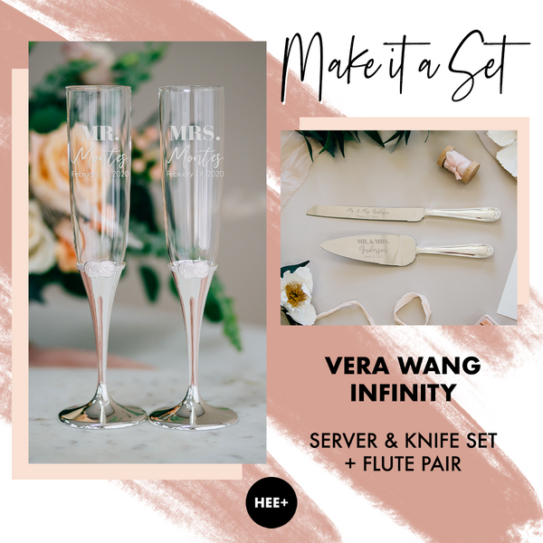 Vera Wang Infinity Toasting Flute & Cake Server Set Package