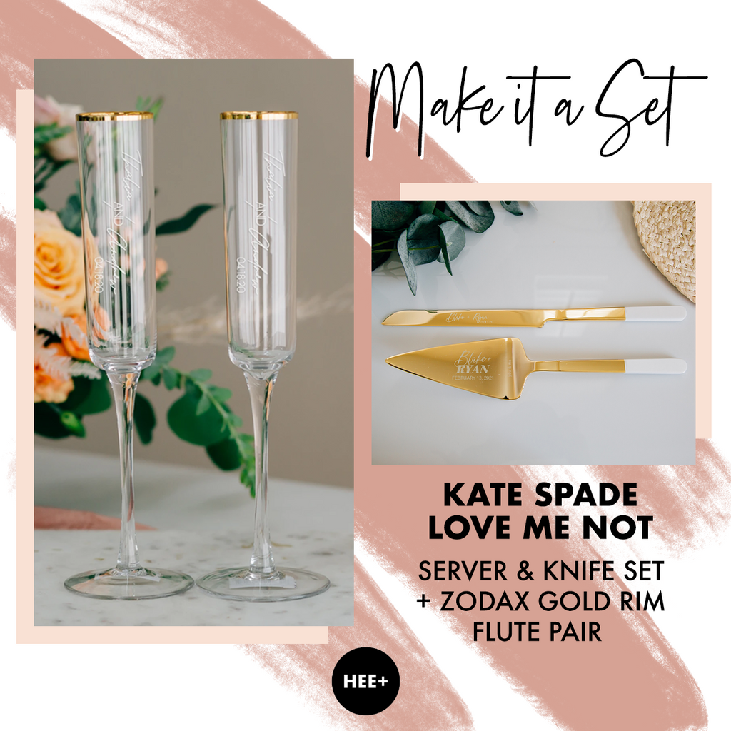 Modern Gold Rim Toasting Flutes & Kate Spade Love Me Not Cake Server Set Package