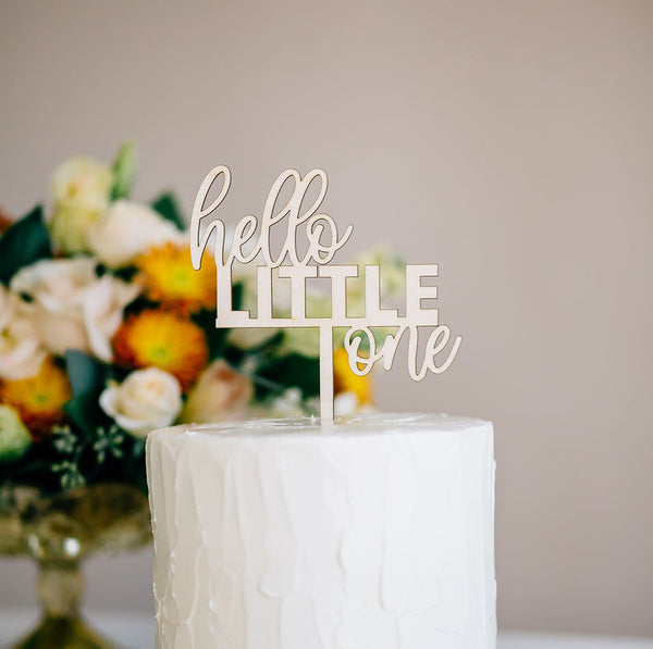 "5"" Hello Little One Cake Topper - Darling, Acrylic or Wood"