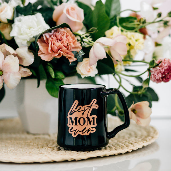 Best Mom Ever Coffee Mug, Engraved Porcelain - Black