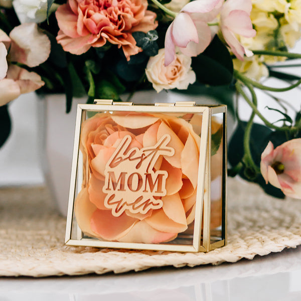 Best Mom Ever Engraved Glass Jewelry Box - Gold