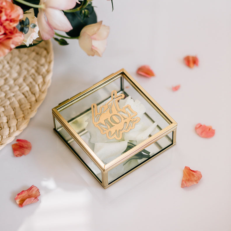 Custom Engraved Glass Jewelry Box - Gold