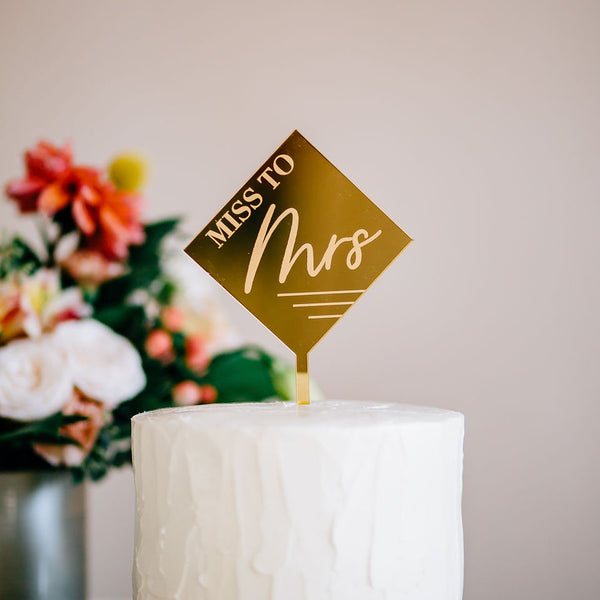 "4.5"" Miss to Mrs Engraved Diamond Cake Topper, Acrylic or Wood"