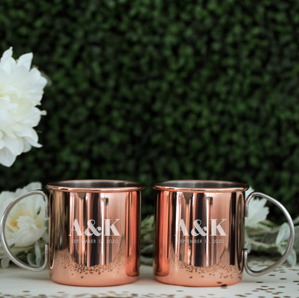 Custom Engraved Copper Moscow Mule Mug, Pair