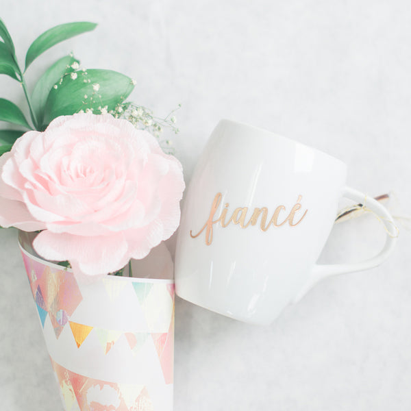Fiance Coffee Mug, Engraved White Porcelain