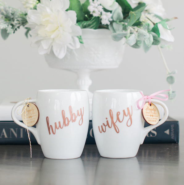 Wifey & Hubby Coffee Mug Set, Engraved White Porcelain